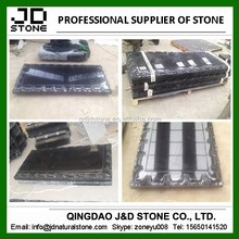 China black granite Israem cemetery stone/ peacock design monument slab