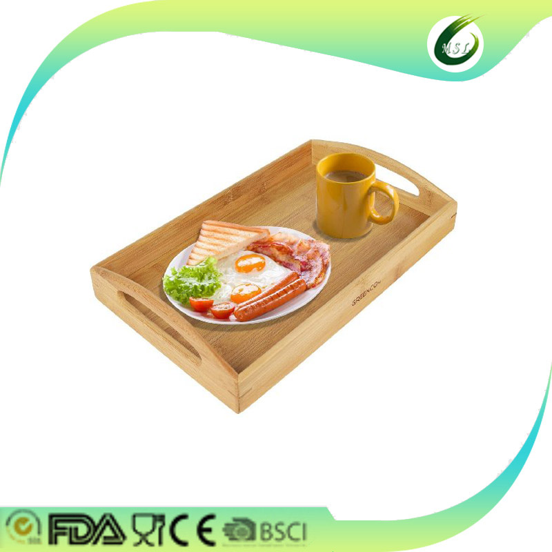 Extra large folding bamboo wooden breakfast serving lap tray