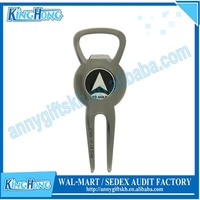 Promotional golf clubs custom metal golf divot repair tool with bottle opener