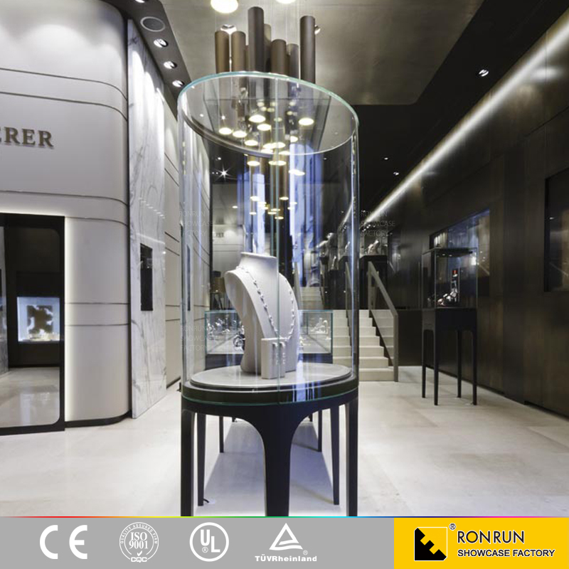 2016 Hot sale glass display cabinet jewelry store furniture/ jewellery showcase design