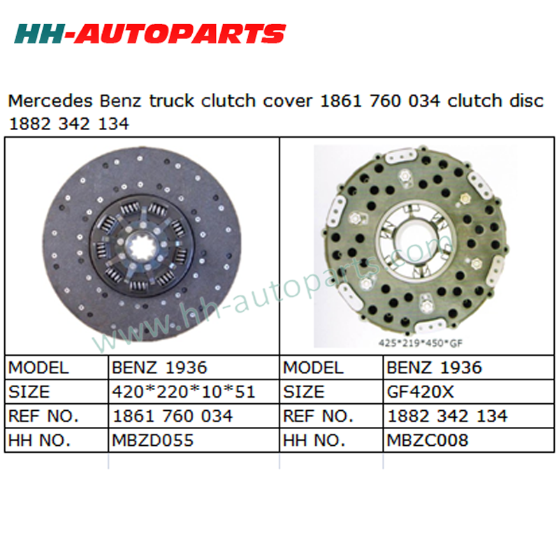 1861 760 034 Luk Clutch Kit 1882 342 134 for Mercedes Truck Tractor Clutch Cover Assembly