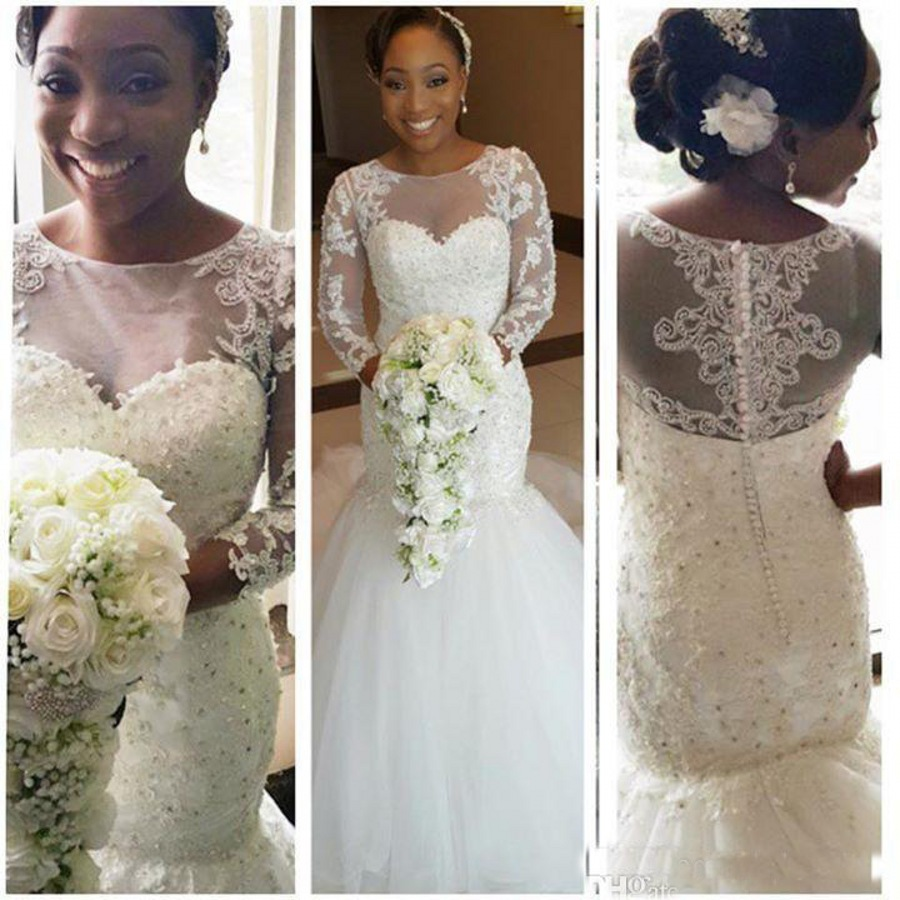 Ll036 Beaded Tulle Y Vintage Lace African Wedding Gowns Long Sleeve Mermaid Dresses For Black Women Evening Dress