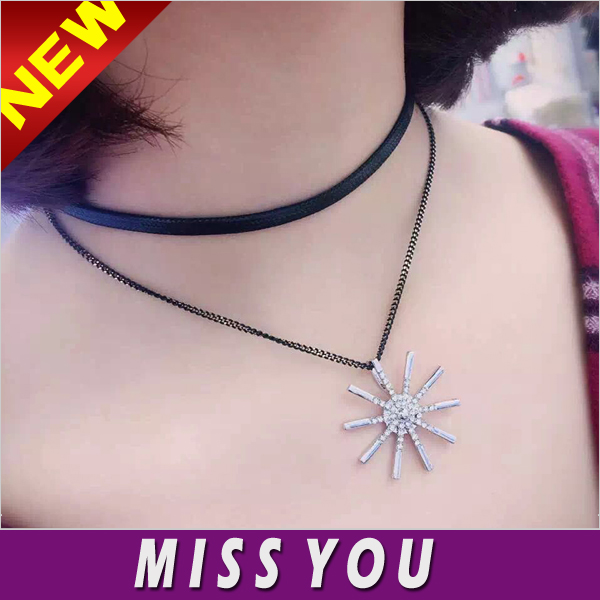 Sun shining Korea fashion short paragraph with jewelry neck collar neckband necklace double chain necklace clavicle