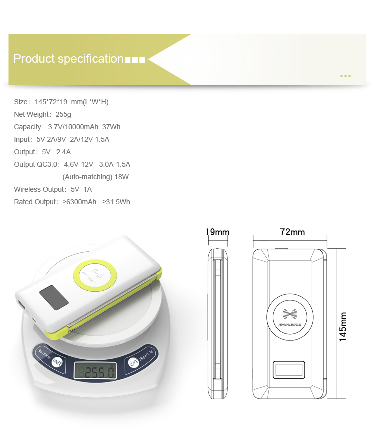 Quick charging QI Wireless charging External Power Battery built-in input cable power bank
