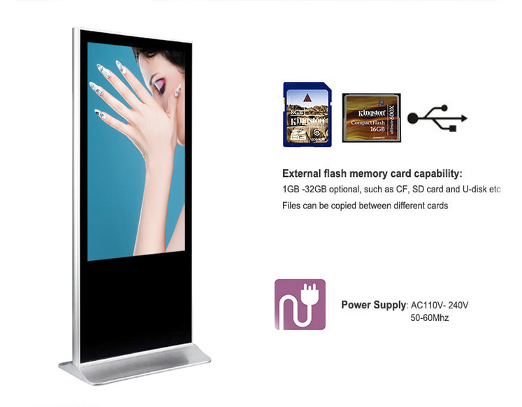42 inch standing alone lcd machine advertising screen full hd media player