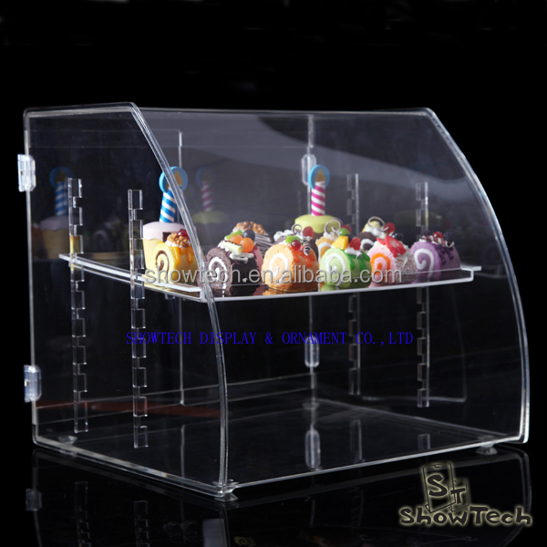 Stackable counter top 3 layers acrylic pastry box bin, holder stand for cupcake bread display ST-CRVBT1814-08