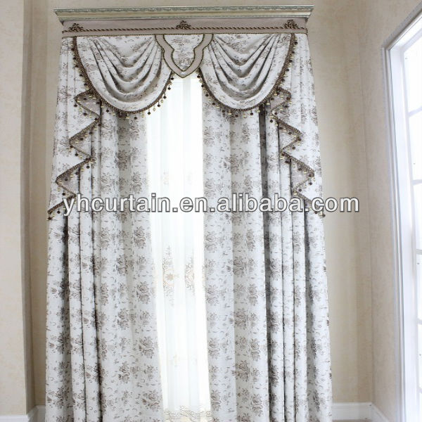 100% polyester European style swag valance jacquard curtains