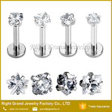 Internally Threaded Labret Piercing Jewelry With Prong Set Heart Star Zircon