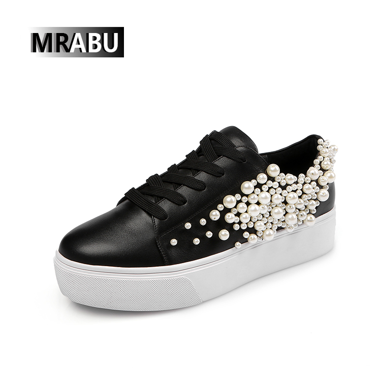 black lace up flats ladies beaded footwear casual running shoes women