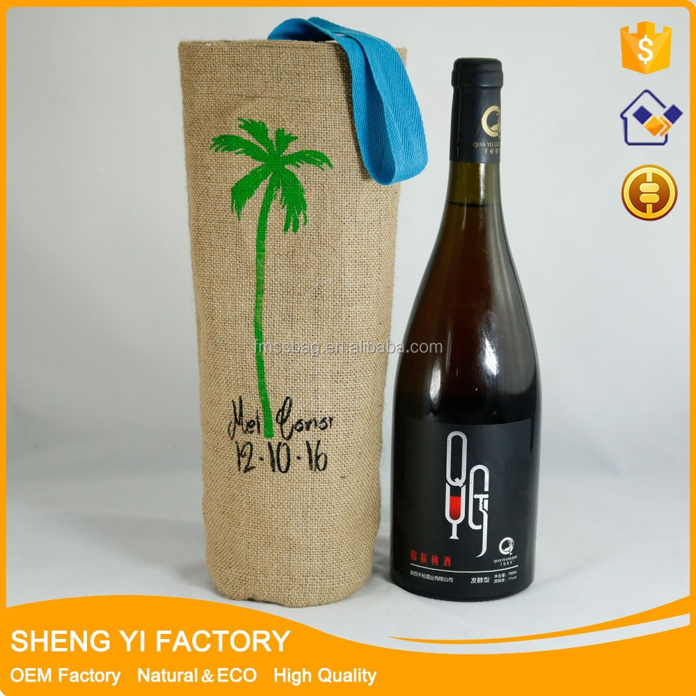 Wholesale China Manufacturer Jute Burlap Favor Wine Bottle Tote Cloth Bags With Logo Printed