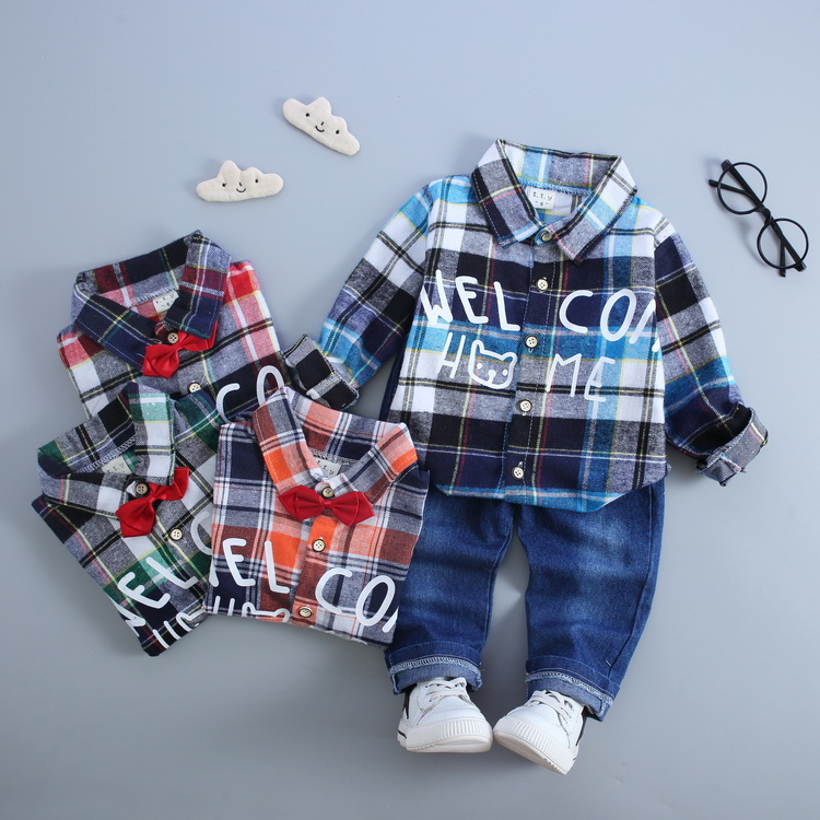Kids Korean Style Turtleneck Plaid Shirt And Jeans Clothing Set <strong>Manufactur</strong> In China