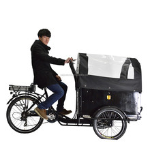 CE approved pedal assisted family electric cargo bike with rain cover for mother and baby