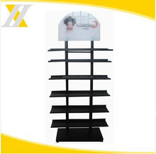 HYX-A071 double sided grey exhibition stand, makeup mac cosmetic display stand with silkscreen logo