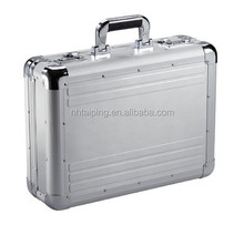 Silver Portable Aluminum Embossed Stripe Briefcase With Brief Lining