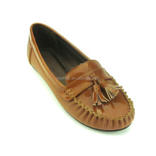 newest fashion stock high quality women tassels camel casual wedge leather pump shoes