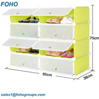 Home Furnture General Use Green Color Customized Plastic Shoe Storage Cabinet