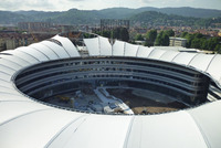 PTFE Tensile Fabric architecture with permanent membrane structure for stand roofing in Turin University Stadium Italy