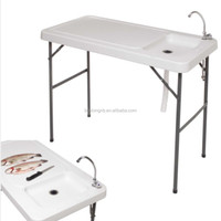 Camp Cooking Table , Fish Cleaning Table, Outdoor Table With Sink