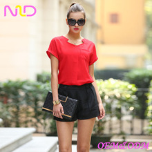 ladies short sleeve red shift blouse for office