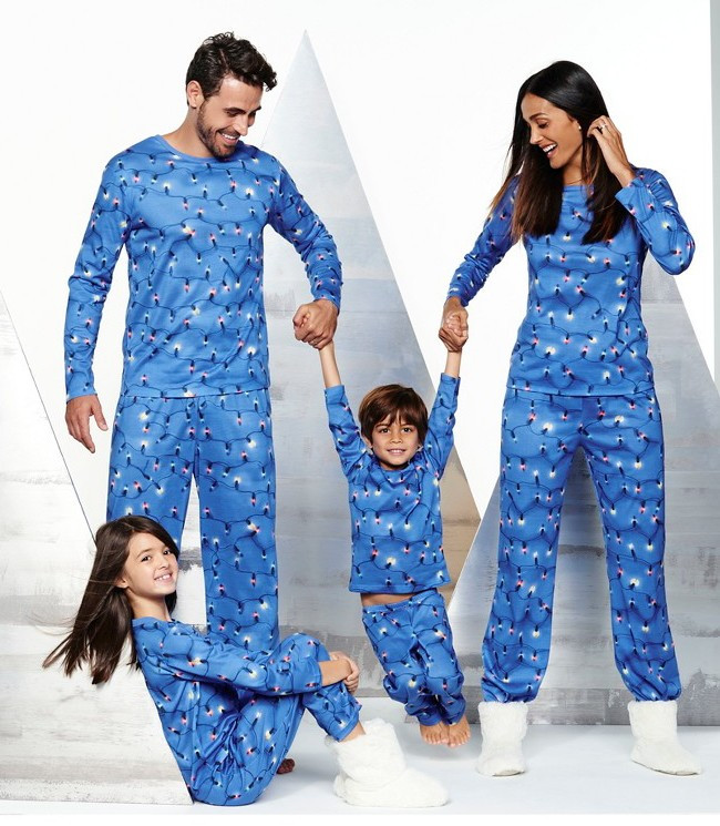 Family Christmas Plain Flannel Pajamas For Kids And Adult