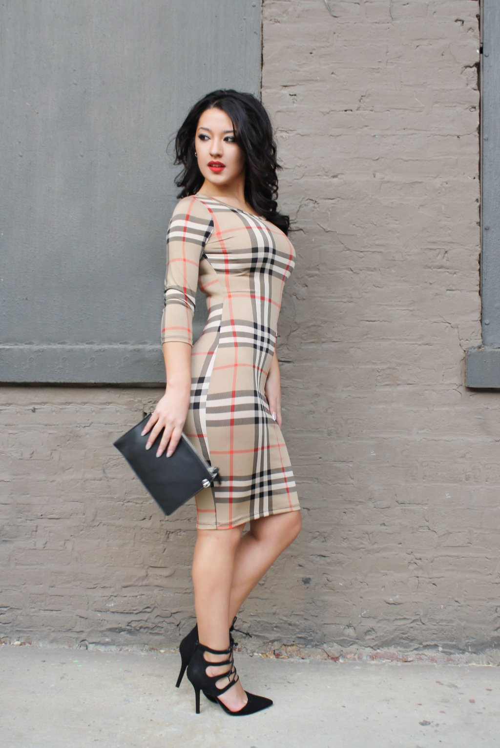 2076 round collar fall and winter tight bodycon plaid women dress