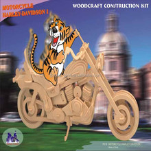 Baby Kid Wooden Motorcycle Harley Toy 3D Puzzle Woodcraft Construction Handword