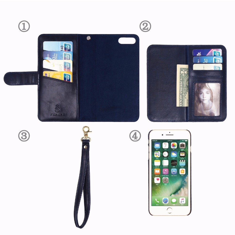 Musubo 4 in 1 Zipper Wallet Leather Case With Strap for iPhone 7 Cell Phone Case Cover With Hand Strap