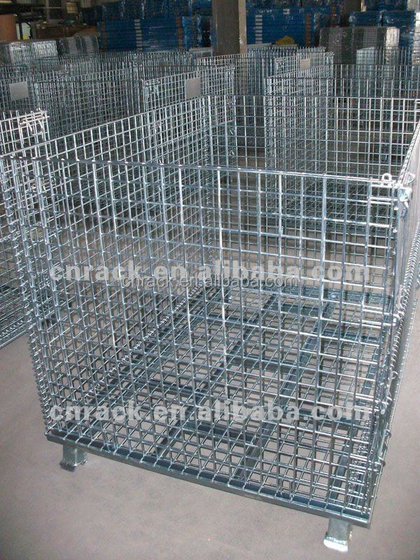 wire mesh collapsible stackable cage pallet