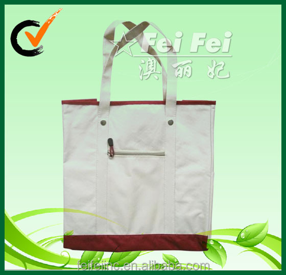 indian and natural canvas tote bag with pocket