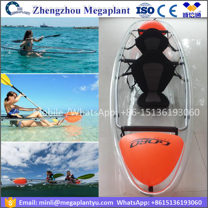 3.3meter 10.8feet 2person polycarbonate Water glass clear bottom kayak <strong>boat</strong> price
