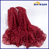 HZW-13611 women 100% Polyester Dots Printed hot selling chiffon arabian designer hijab red black Colored dots latest women scarf