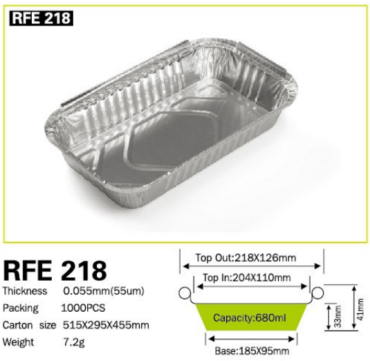 Disposable Pollution-free Household Food Aluminum Container RFE 218