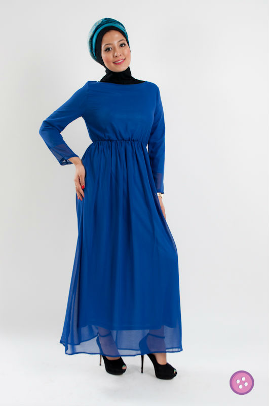 Long Sleeve Chiffon Abaya Jubah Muslim Dress FJ0178