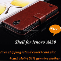 Factory Wholesale Flip Genuine Leather Mobile Phone Case for Lenovo A830 with Wallet Stand Card Slot