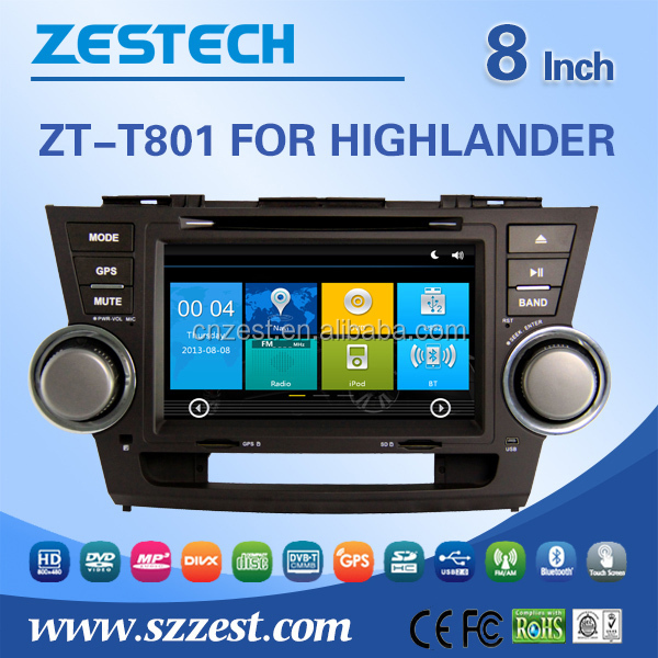 For Toyota Highlander Car dvd gps player 2008 2009 2010 2011 2012 Car dvd gps player auto radio Audio Bluetooth RDS 3G