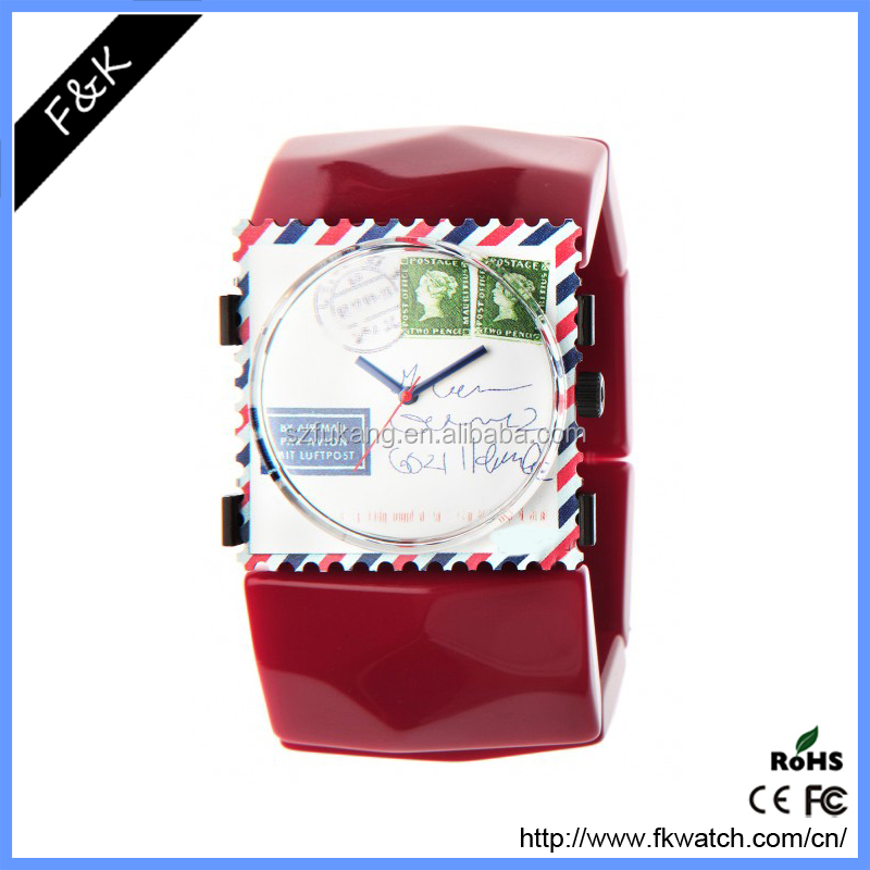 Hot sale silicone square stamp shape japan movement quartz watch