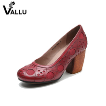 handmade round toe genuine leather women's shoes new arrivals 2017 high heels shoes pumps