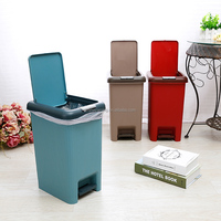 2016 indoor plastic pedal hand press dual purpose waste bin trash can