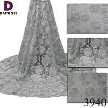 2017 Newest african french net lace tulle embroidery lace fabric white flower lace with bead pearl 3940