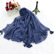 Oversized Color Solid Plain Lace Decoration Bamboo Cotton Tassel Scarf Muslim Hijab Wholesale