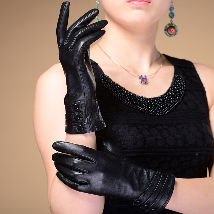 C84416A High end Lady sheepskin gloves,high quality lady leather glove,driving glove