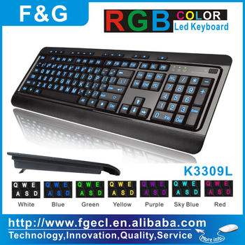 Hot sell big letters Multimedia led illuminated keyboard with CE/FCC/ROHS