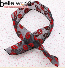 Red Color Lip Chiffon Wire head Band For Valentine Gift