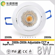 CCT 2000-2800k dim to warm cob led ceiling downlight 75mm cutout with 32mm height ultra slim