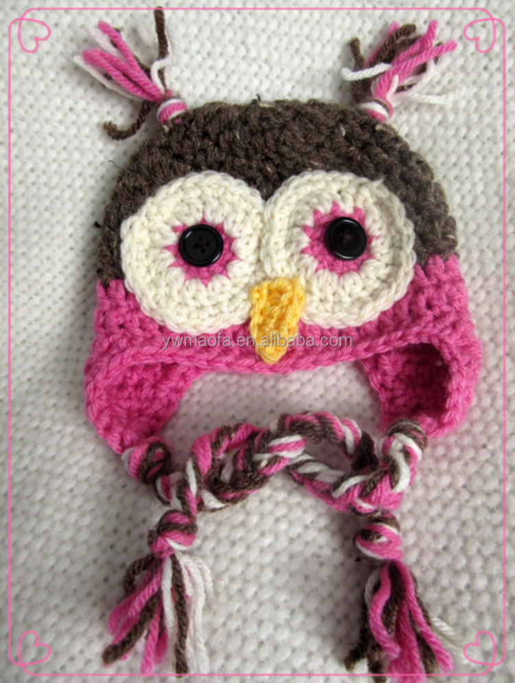 Factory-direct Selling Crochet Baby Owl Hat 100% Acrylic Yarn Knitted Cartoon Hats