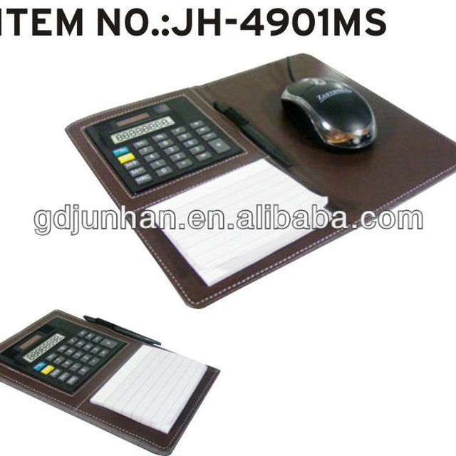 JH-4901MS desktop faux leather mouse pad with calculator and writing pad