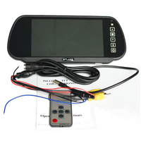 "7"" LCD Monitor Mirror+Wireless IR Night Reverse Car Rear View Backup Camera Kit"