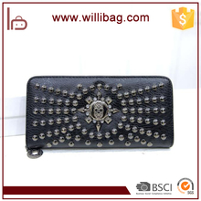 Korean Style Stylish Skull Rivet Lady Purse For Woman Leather Wallet