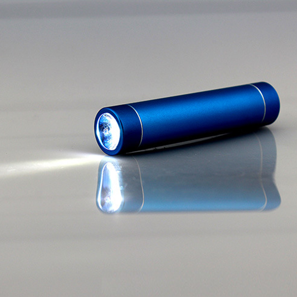 Aluminum alloy cylindrical <strong>mobile</strong> power bank 2600 mah with super bright LED flashlight lighting