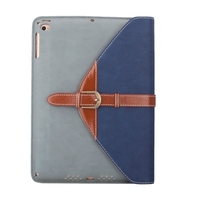 Factory Price Rotatable Leather Cover for iPad Air 2 Leather Case with 3 Gears Holder